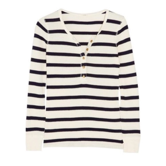 4bb0c4c6a23 J. Crew Tops - J Crew navy and white striped thermal henley